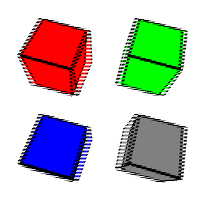 four cubes with black edges. Going clockwise from the upper left, the cube faces are red, green, gray, and blue. The lines are blurry.