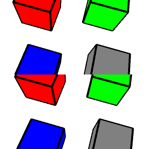 composite of the same four cubes with black edges pictured twice, one above the other. Going clockwise from the upper left, the cube faces are red, green, gray, and blue.