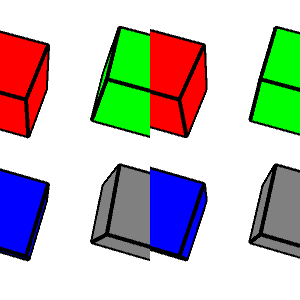 composite of the same four cubes with black edges pictured twice, one on the right and one on the left. Going clockwise from the upper left, the cube faces are red, green, gray, and blue.