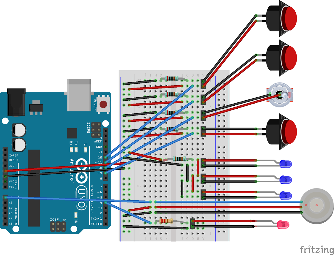arduino connected to breadboard, with 4 buttons hooked up with pulldown resistors, 3 LEDs connected to a resistor and power and ground, and one LED wired to arduino pin 4 with a resistor.