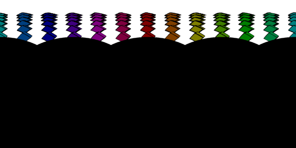 rows of colored cubes extending from the top of the image down one third of the height of the image. The rest is black.