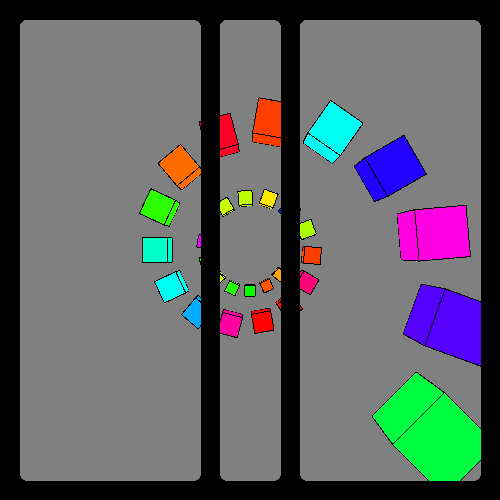 arc of colored cubes gradually increasing in size, with two black bars covering up the image.