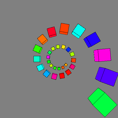 spiral of colored cubes emerging from the center of the image.