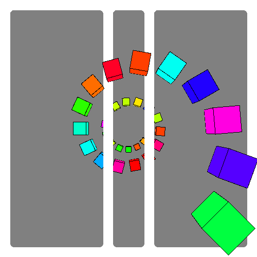 spiral of colored cubes gradually increasing in size with two white bars in the center. The white bars are blocking the view of the cubes in the center of the spiral.