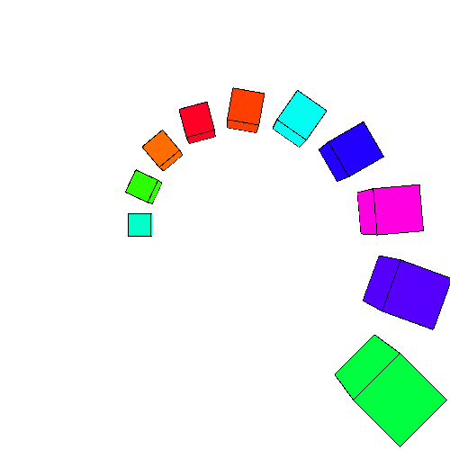 arc of colored cubes gradually increasing in size.