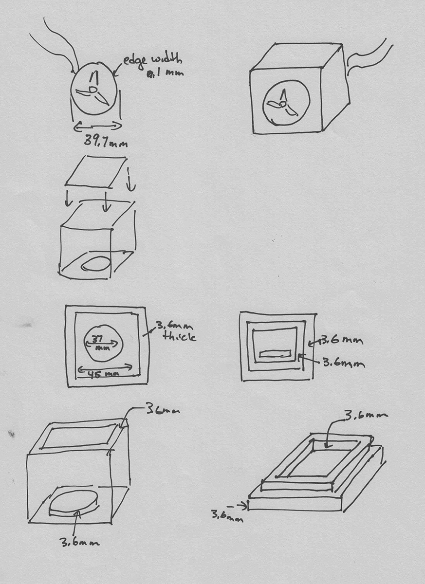 sketch of speaker parts with measurements for how big or thick each piece will be