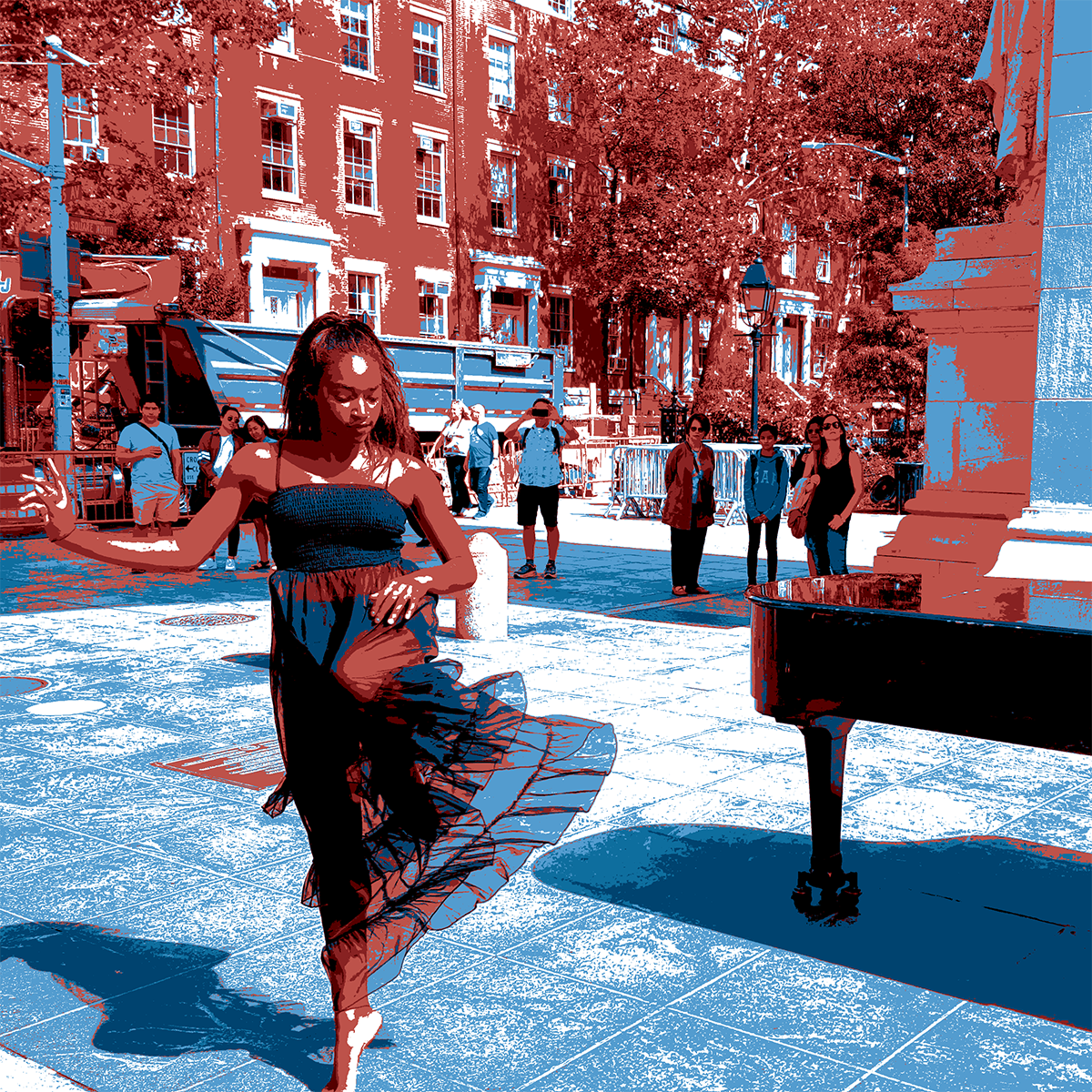 Woman in dress dancing next to a piano.