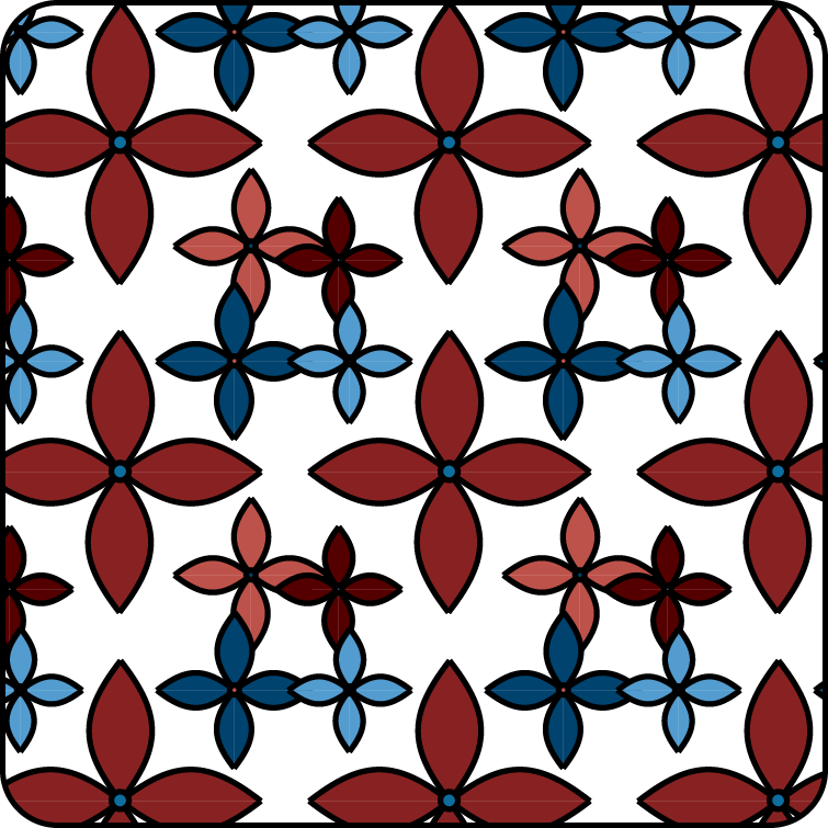 Flower pattern using reddish and bluish colors.